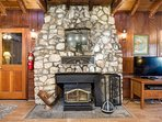 Large rock fireplace