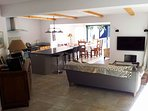 Kitche and living area with breakfast bar, Satellite TV with Bose surround