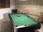 Pool room with wine fridge