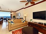Comfortable Living Area with Flat Screen TV and Views of the Ocean