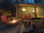 Patio with Firepit, Grill,, and Covered Picnic Area