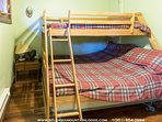 Bunk bed in one of two bedrooms sleeps 3
