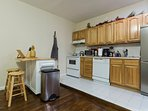 Fully equipped kitchen with movable/chop block island. Every utensil you could possibly need!