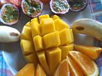 Fresh tropical fruits are available all year round and are served at breakfast.