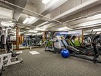 The Sundial Lodge fitness center is equipped with treadmills, elliptical, stationary bikes and more fitness equipment.