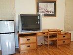 Medium Refrigerator, TV, Desk, Side Chair
