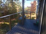 With the new deck and rails, we also installed a bench facing the hot tub.  Hot tub stairs on right.