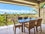 Lanai with dining table for six.