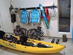 Fun toys to enjoy- 2 folding bikes (fit great in the car), beach chairs, umbrella, tennis rackets, boogie boards and a...