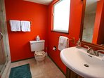 Bathroom three in loft area features a remodeled shower.