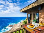 Breakfast table on outdoor lanai with view