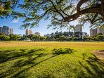 Not only will you be steps to the beach but you are also steps to Kapiolani Park, where you can head out for a picnic...