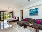 Master Suite - King bed, living room, and en-suite