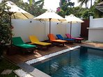 Our fabulous pool is kid friendly with a shallow end and steps.