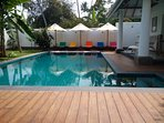 Our pool is surrounded by teak decking, plenty of room for sunbeds and parasols.