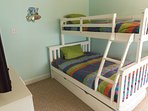 Kids room sleeps 4 kids single on top, double on bottom & single pull out under bed