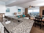 The open concept affords spectacular views from the granite and