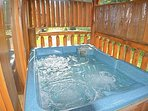 Enjoy the hot tub on the upper deck with beach towels that are provided.