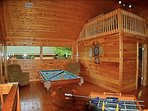 Lovely game room & eagles nest w/2 futons and tent