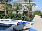 Upgraded loungers on private pool deck