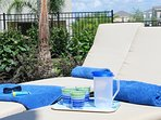 Outdoor dishes provided for poolside enjoyment