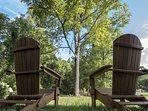 Chairs overlooking Sandy Mush Creek