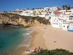 The town centre Carvoeiro beach by day...