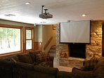Lower level family room. DVD/CD/Radio with surround sound and projection