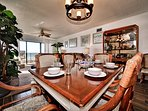 Dining area has view of the beach.