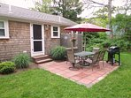 Back Patio with gas grill and enclosed outdoor shower - 37 Jacqueline Circle West Yarmouth Cape Cod New England...