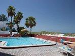 Heated Pool at the Island Inn.  On the Beach with a Tiki Bar