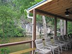 Extra large deck overlooking Little River