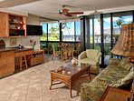 Kihei Surfside 106 is a ground floor unit at the ocean's edge
