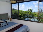 The bedroom also has fantastic ocean views, along with a king sized bed