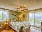 Upstairs, the master bedroom has wonderful ocean views and a private bathroom