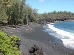Kehena black sand beach just minutes away