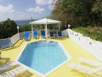 The 18ft pool and surrounding sundeck are private, sheltered from the winds, and bathed in the sun the entire day