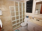 The newly remodeled guest bathroom on the main level (the lower level twin bedroom has a similar bath) (2017 photo...