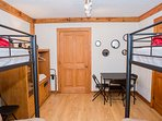 Bedroom #6 – Kids Bunk Room – Lower Terrace Level – Bunk bed over futons – Shared Full Bath