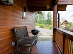 Front porch with charcoal grill