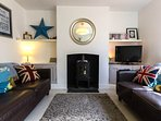 Log burner in living room