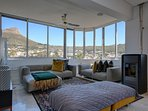 Open Plan kitchen with views of Table Mountain, Lions Head, Signal Hill and the city