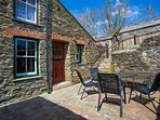 Sunny sheltered private enclosed courtyard