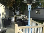 Outdoor seating with patio heater
