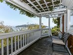 Guest apartment deck with great views of the bay. Watch the sea lions frolic below!