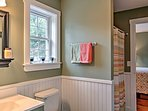 Freshen up in this lovely bathroom.