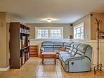 The basement provides a whole other space to kick back and relax while watching TV!