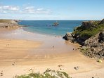 Walk or drive to National Trust Broad Haven south beach with toilets & parking