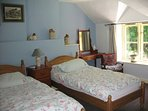 Double aspect upstairs twin with 3ft super comfy beds, stream & woodland views plus HD SMART TV