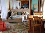 Lakefront Cottage livingroom and queen bedroom